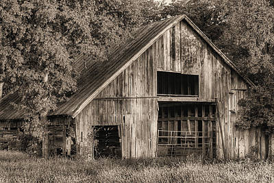 Photograph - The Old Wooden Barn In Denton Sepia by JC Findley