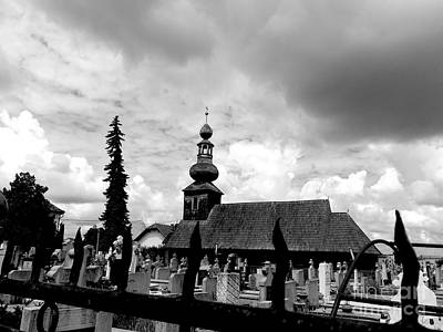 Photograph - The Old Wooden Church - Bw by Erika H