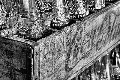 Photograph - The Old Wooden Coke Crate Black And White by JC Findley