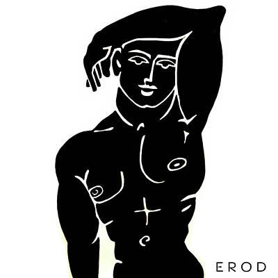 Greek Icon Drawing - The Olympic Swimmer - Erod Art by Robert R Splashy Art Abstract Paintings
