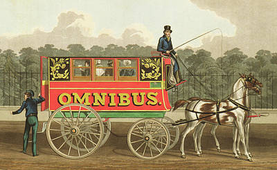 Horse Drawn Carriage Painting - The Omnibus by Robert Havell