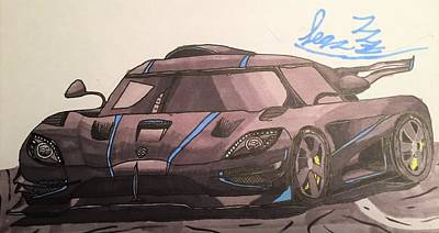 Super Cars Drawing - The One To One by Sean Farrar