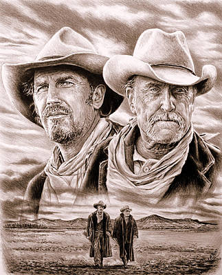 Cowboy Hat Drawing - The Open Range Sepia  by Andrew Read