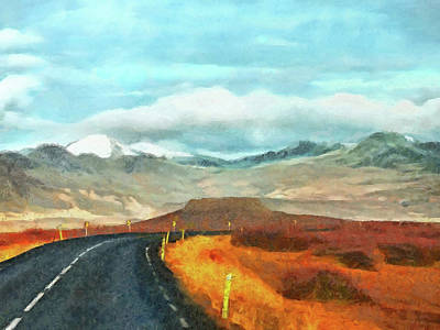 Digital Art - The Open Road On The Snaefellsnes Peninsula by Digital Photographic Arts