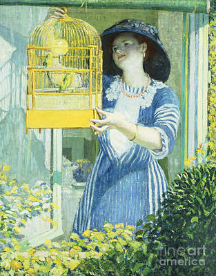 Parakeet Painting - The Open Window by Frederick Carl Frieseke