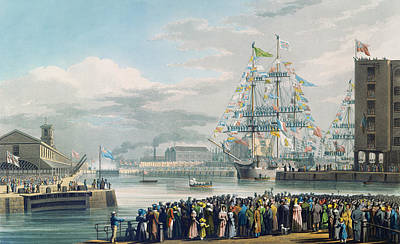 Rigging Painting - The Opening Of Saint Katharine Docks by Edward Duncan