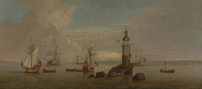 Historic Lighthouses Painting - The Opening Of The First Eddystone Lighthouse by Peter Monamy