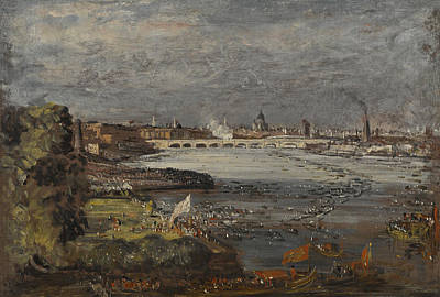 Painting - The Opening Of Waterloo Bridge, Seen From Whitehall Stairs, London, 19 June 1817  by John Constable