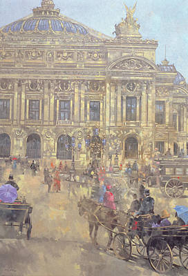 Horse And Carriage Painting - The Opera  Paris by Peter Miller
