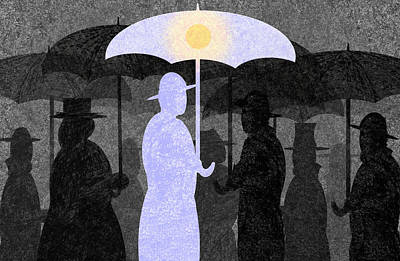 Umbrellas Drawing - The Optimist by Steve Dininno