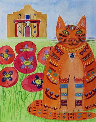 Painting - the Orange Alamo Cat by Vera Smith