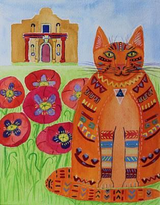 the Orange Alamo Cat Art Print