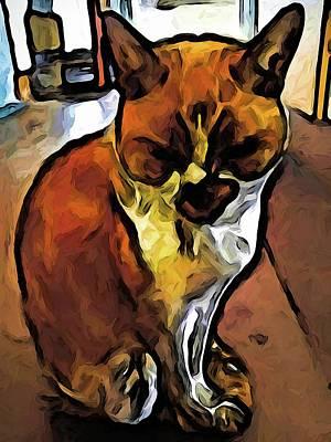 Digital Art - The Orange Cat Sleeping While Sitting Up by Jackie VanO