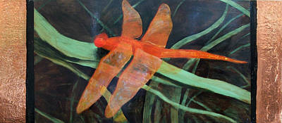 Painting - The Orange Dragonfly by Ellen Beauregard
