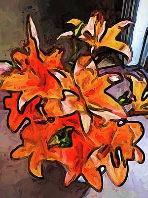 Digital Art - The Orange Lilies In The Light From The Side by Jackie VanO