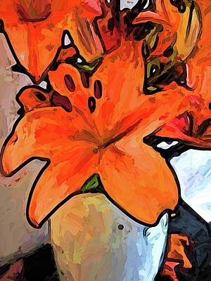 The Orange Lilies In The Mother Of Pearl Vase Art Print