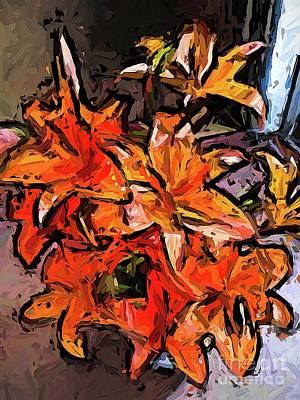 Digital Art - The Orange Lily Flowers Jvo1 by Jackie VanO