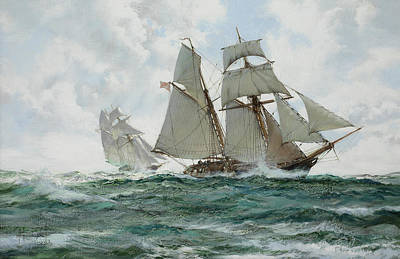 Calming The Storm Painting - The Orange Schooner by Montague Dawson