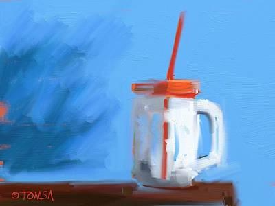 Digital Art - The Orange Straw by Bill Tomsa