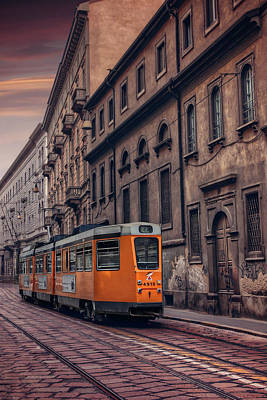 Pastel Sky Photograph - The Orange Tram by Carol Japp