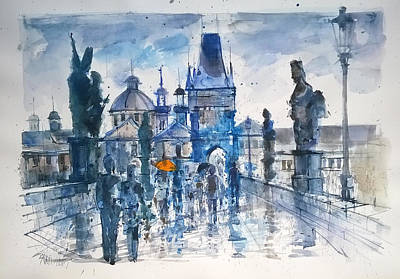 Charles Bridge Drawing - The Orange Umbrella by Lorand Sipos