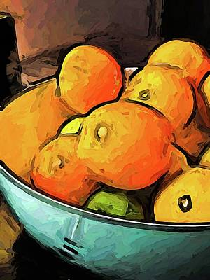 Digital Art - The Oranges In The Turquoise Fruit Bowl by Jackie VanO