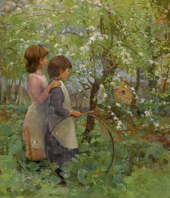 Adela Painting - The Orchard by Elizabeth Adela Forbes