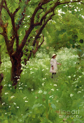 Pinafores Painting - The Orchard  by Thomas Cooper Gotch