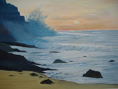 Incoming Tide Painting - The Oregon Coast by Ilona MONTEL