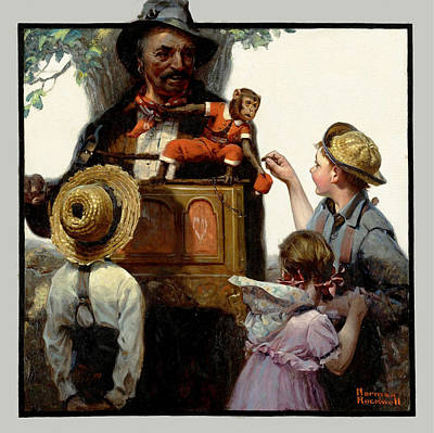 Norman Rockwell Painting - The Organ Grinder by Norman Rockwell