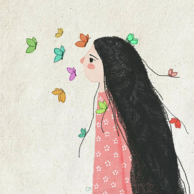 Butterfly Drawing - The Origin Of My Messy Hair by Carolina Parada