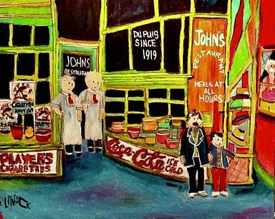 Painting - The Original John's Restaurant St. Henri by Michael Litvack