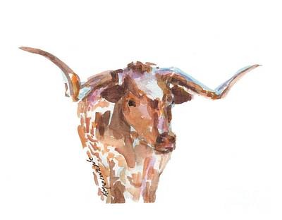 Mammals Royalty-Free and Rights-Managed Images - The Original Longhorn Standing Earth Quack watercolor painting by KMcElwaine by Kathleen McElwaine