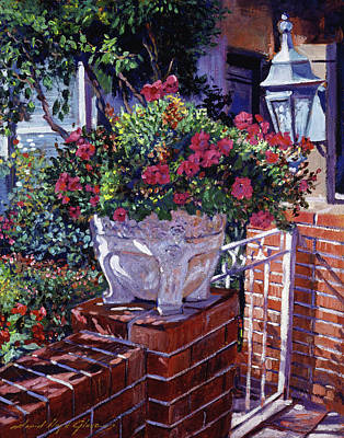 Coach Lamps Painting - The Ornamental Floral Gate by David Lloyd Glover