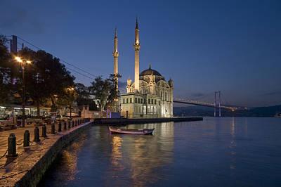 The Ortakoy Mosque And Bosphorus Bridge At Dusk Art Print by Ayhan Altun