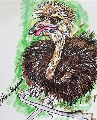 Ostrich Mixed Media - The Ostrich  by Geraldine Myszenski