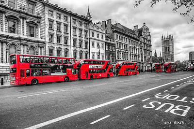 Photograph - The Other Red Bus by Walt  Baker