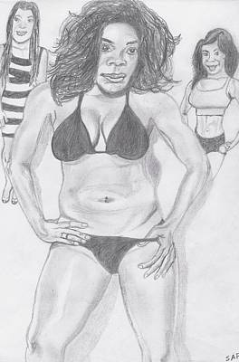 Serena Williams Drawing - The Other Side Of Miss Serena by Steve A Rhoden