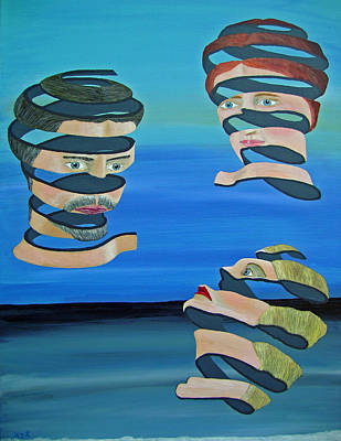 Acrylic On Canvas Painting - The Other Woman Inspired By Escher by Eric Kempson