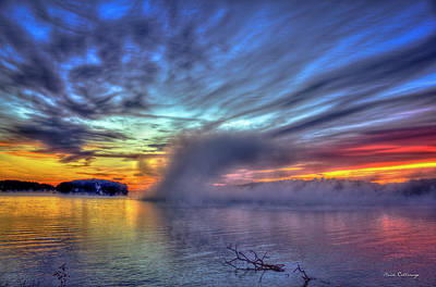 Photograph - The Otherworldly Sunrise Sugar Creek Lake Oconee by Reid Callaway