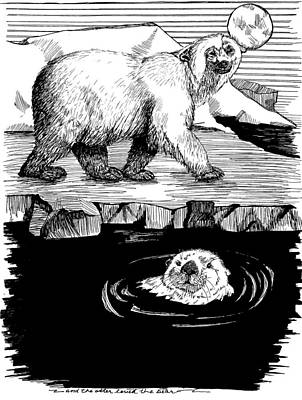 Bears Drawing - The Otter Loved The Bear by Laura Brightwood