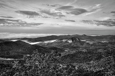 Photograph - The Outcrop Looking Glass Rock Sunrise Bw Blue Ridge Parkway Art by Reid Callaway