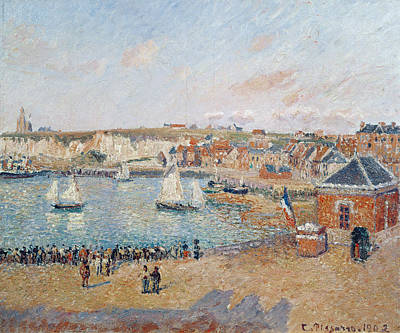 Basin Painting - The Outer Harbour At Dieppe by Camille Pissarro
