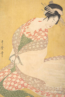 Painting - The Outer Robe by Kitagawa Utamaro