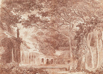 Drawing - The Oval Fountain In The Gardens Of The Villa D'este, Tivoli by Hubert Robert
