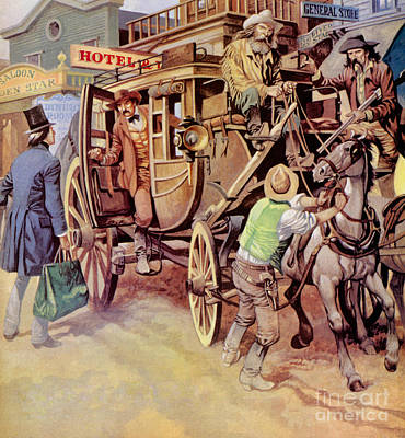 Coach Horses Painting - The Overland Stage by Peter Jackson