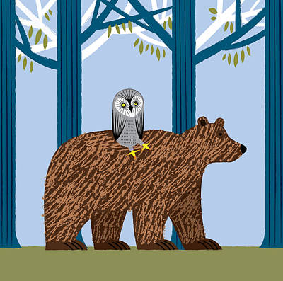 Forest Walk Digital Art - The Owl And The Bear by Oliver Lake