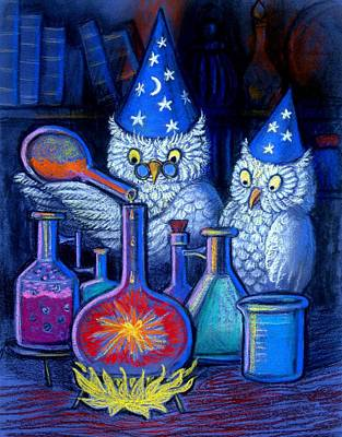 Wizard Painting - The Owl Chemists by Sue Halstenberg