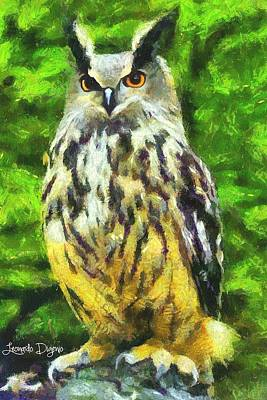 Bushes Digital Art - The Owl - Da by Leonardo Digenio