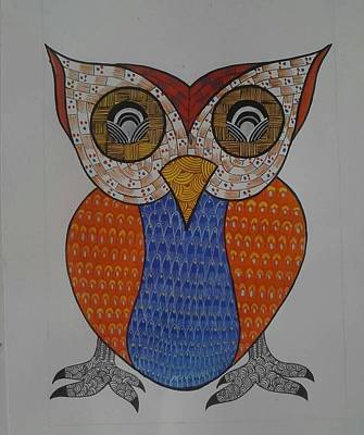 Gond Painting - The Owl by Rajender Uike